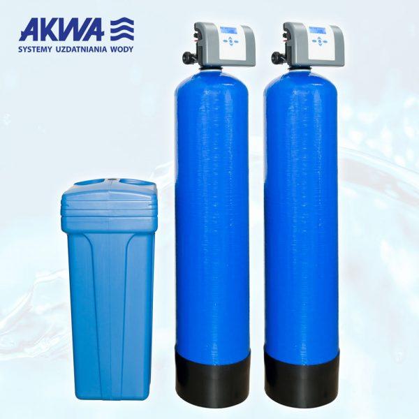 Dwukolumnowy zmiękczacz wody do pracy ciągłej Clack PL TWIN od 1 cal do 1 1/4 cala, od 20 litrów do 150 litrów