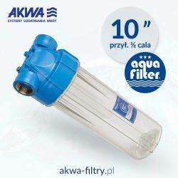 Korpus narurowy 10 cali obudowa filtra do wody przezroczysta przyłącze 1/2 cala