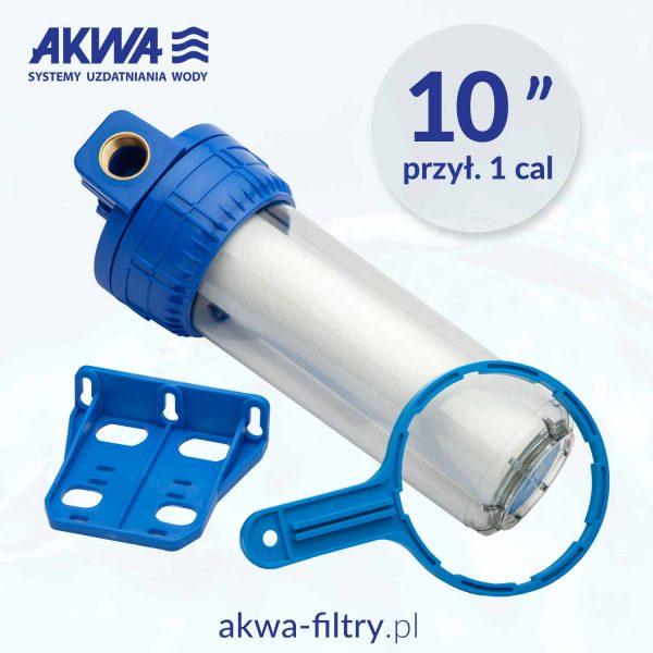 Filtr do wody korpus narurowy 10 cali, przyłącze 1 cal, Aquafilter, zestaw