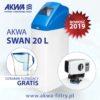 Kompaktowy zmiękczacz wody do domu AKWA SWAN 20L BNT plus gratis dzbanek filtrujący Dafi