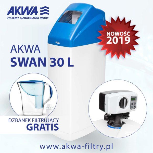 Kompaktowy zmiękczacz wody do domu AKWA SWAN 30L BNT plus gratis dzbanek filtrujący Dafi