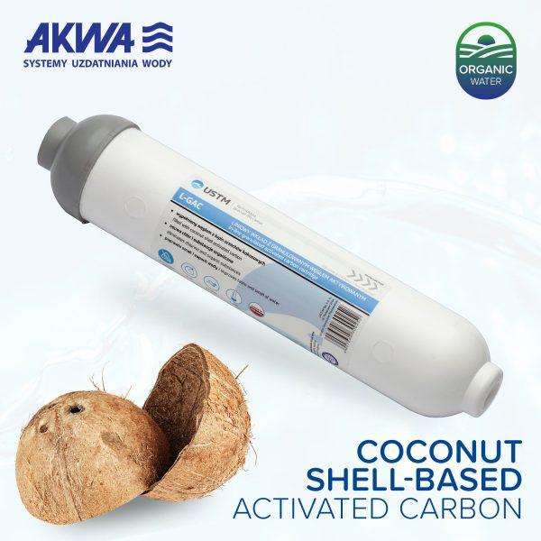 Liniowy wkład węglowy do filtrów odwróconej osmozy z węglem aktywowanym ze skorup orzecha kokosowego, gwint wewnętrzny, USTM